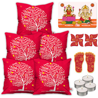 Indigifts Designer Print Red Cushion Cover 40.64 cm (16 inch) x 40.64 cm (16 inch) x 1 cm (0.39 inch) Set of 5