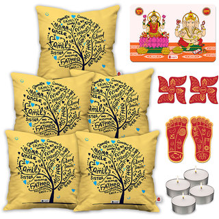 Indigifts Ethnic Print White Cushion Cover 45.72 cm (18 inch) x 45.72 cm (18 inch) x 1 cm (0.39 inch) Set of 5