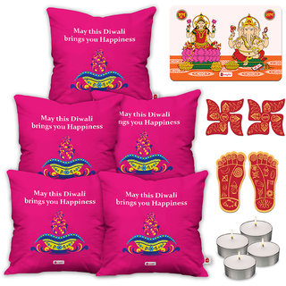 Indigifts Designer Print Pink Cushion Cover 40.64 cm (16 inch) x 40.64 cm (16 inch) x 1 cm (0.39 inch) Set of 5
