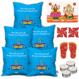 Indigifts Diwali Gifts Blue Cushion Cover 40.64 cm (16 inch) x 40.64 cm (16 inch) x 1 cm (0.39 inch) Set of 5