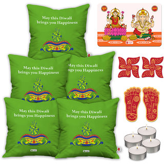 Indigifts Diwali Special Green Cushion Cover 40.64 cm (16 inch) x 40.64 cm (16 inch) x 1 cm (0.39 inch) Set of 5