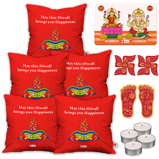 Indigifts Diwali Festival Gifts Red Cushion Cover 40.64 cm (16 inch) x 40.64 cm (16 inch) x 1 cm (0.39 inch) Set of 5
