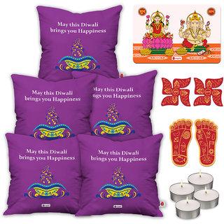 Indigifts Designer Print Purple Cushion Cover 40.64 cm (16 inch) x 40.64 cm (16 inch) x 1 cm (0.39 inch) Set of 5