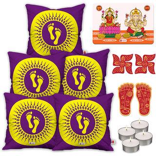 Indigifts Diwali Gifts Purple Cushion Cover 45.72 cm (18 inch) x 45.72 cm (18 inch) x 1 cm (0.39 inch) Set of 5