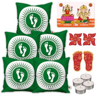 Indigifts Diwali Festival Gifts Green Cushion Cover 45.72 cm (18 inch) x 45.72 cm (18 inch) x 1 cm (0.39 inch) Set of 5