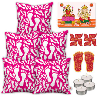 Indigifts Diwali Gifts Pink Cushion Cover 45.72 cm (18 inch) x 45.72 cm (18 inch) x 1 cm (0.39 inch) Set of 5