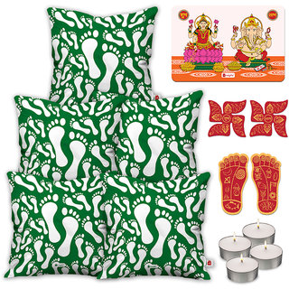 Indigifts Designer Print Green Cushion Cover 40.64 cm (16 inch) x 40.64 cm (16 inch) x 1 cm (0.39 inch) Set of 5