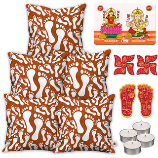 Indigifts Ethnic Print Brown Cushion Cover 40.64 cm (16 inch) x 40.64 cm (16 inch) x 1 cm (0.39 inch) Set of 5