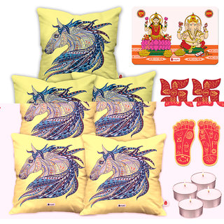 Indigifts Diwali Gifts White Cushion Cover 40.64 cm (16 inch) x 40.64 cm (16 inch) x 1 cm (0.39 inch) Set of 5