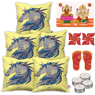 Indigifts Diwali Gifts White Cushion Cover 45.72 cm (18 inch) x 45.72 cm (18 inch) x 1 cm (0.39 inch) Set of 5