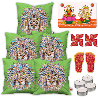Indigifts Diwali Festival Gifts Green Cushion Cover 45.72 cm (18 inch) x 45.72 cm (18 inch) x 1 cm (0.39 inch) Set of 5