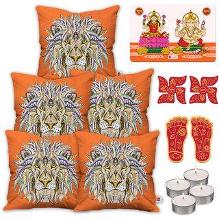 Indigifts Ethnic Print Orange Cushion Cover 40.64 cm (16 inch) x 40.64 cm (16 inch) x 1 cm (0.39 inch) Set of 5