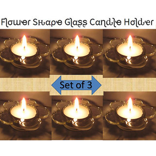 Flower Design Decorative Glass Diya , Tea Lights Candle Holder,Home Decorations 3 Holder + 3 Candles (Diwali /Christmas)