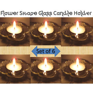 Flower Design Decorative Glass Diya , Tea Lights Candle Holder,Home Decorations 6 Holder + 6 Candles (Diwali /Christmas)
