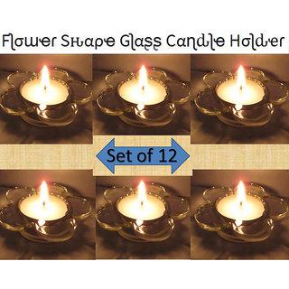 Flower Design Decorative Glass Diya ,Tea Lights Candle Holder,Home Decorations 12 Holder +12 Candles (Diwali /Christmas)