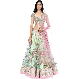 V-Karan Women Net Green Embroidered Semi-Stitched Lehengha Choli