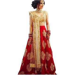 V-Karan Women Taffeta Silk Red Embroidered Semi-Stitched Lehengha Choli