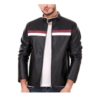 Leather Retail Black Color Sporty Design Faux Leather Jacket For Man
