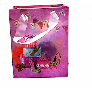 MSI Paper Hand Bag Pink Color Small Size Pack of-12