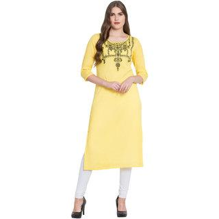 MICHKOO Yellow Color Stylish Printed Kurti For Women