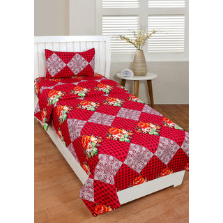 BSB Trendz 3D Printed Single  Bedsheet 90x60 Inches with 1  Pillow Cover