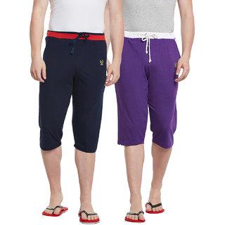 Vimal-Jonney Multicolor Cotton Blended Capri For Men (Pack Of 2)
