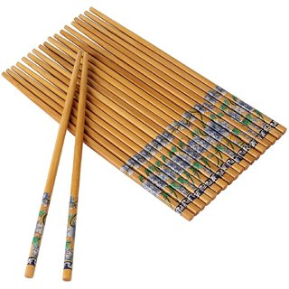 EREIN Set Of 10 Pairs Designer Natural Round Bamboo Reusable Chopsticks, Size 9.5 Inch (Color and Design May Vary)