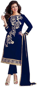 Salwar Suit for women's ( FASHION CARE Present embroidered work Chanderi Semi-Stitched salwar suit dress material for wo