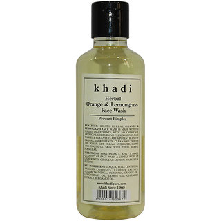 Khadi Herbal Orange  Lemongrass Face Wash - 210ml