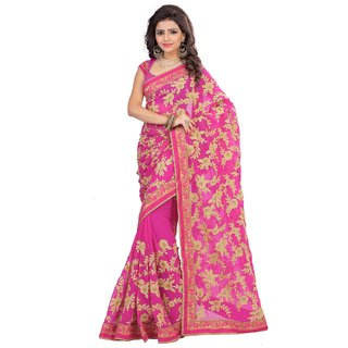 0179c30194fdfd Buy Dhandai Fashion Pink Georgette Embroidered Saree With Blouse Online -  Get 64% Off