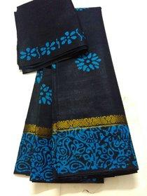 Dark Blue Bengal Cotton Saree Bhandhini Zari Saree Border Handloom New W/B Saree Cotton