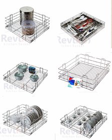 stainless steel modular kitchen basket sze 15x20 inch ( set of 6 pcs  ) all kitchen cabinet use
