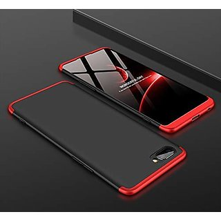 MOBIMON OPPO A3S Front Back Case Cover Original Full Body 3-In-1 Slim Fit Complete 3D 360 Degree Protection (Black Red)