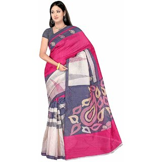 Fabwomen Multicolor Floral Khadi Silk Saree With Blouse