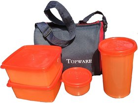 Topware Plastic Lunch Box With 4 pcs. Food Grade Containers and Insulated Bag