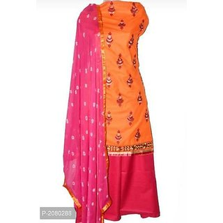 Bhuwal fashion Pink Jhumka Cotton Dress Material With Bottom And Dupatta-tm6072