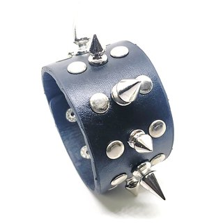 Leatherite Pokky Spikes Double Line Kate Wala Black Bracelet for Men