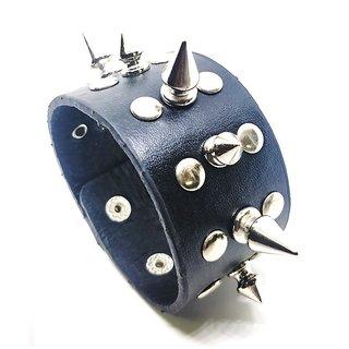 Leatherite Spikes Broad Punk Style Double LineBlack Color Funky Mens Bracelet