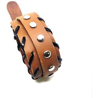 Leatherite Tan Brown Color Punk Rivet Wrist Band Bracelet Cuff For Men/Boys India