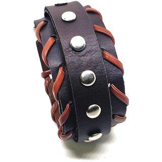 Leatherite DarkBrown Color Funky Classic Rivet Wrist Band Bracelet Cuff For Men/Boys India