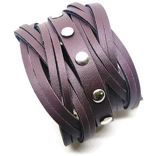 Leatherite Brown Wide Metal And Leather Looking Solid Gym Style Bracelet Wrist Band Cuff For Men/Buys