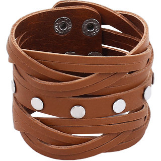 Leatherite Tan Color Wide Metal And Leather Looking Solid Gym Style Bracelet Wrist Band Cuff For Men/Buys