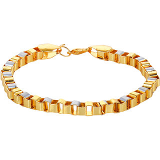 Chain Style Classic Partywear Twotone Gold Silver Color Very Light weight yet heavy looking Bracelet For Mens/Boys