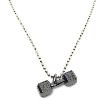 Black Gold Plating Dumbbell Gym pendant in Silver Alloy Metal High Gloss with Ball Chain For Men/Boys/Gents