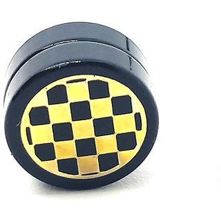 Golden Chess Black MAGNETIC 1 Pc. Earring Trendy MAGNET Both Side For Boys/Mens/Gents (NO PEARCING)