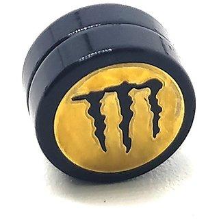 Golden Monster Black MAGNETIC 1 Pc. Earring Trendy MAGNET Both Side For Boys/Mens/Gents (NO PEARCING)