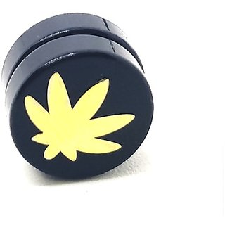 Golden Weed Leaf Black MAGNETIC 1 Pc. Earring Trendy MAGNET Both Side For Boys/Mens/Gents (NO PEARCING)