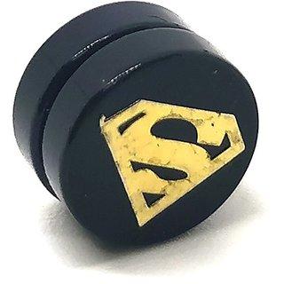 Golden SuperMan Black MAGNETIC 1 Pc. Earring Trendy MAGNET Both Side For Boys/Mens/Gents (NO PEARCING)