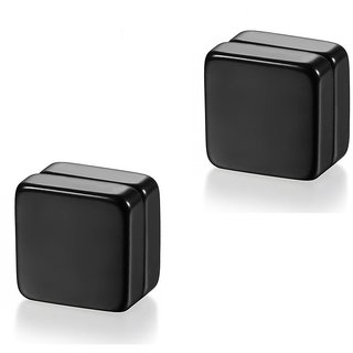 Black Square (NO PEARCING) Stud Earrings 1 Pair. For Mens/Boys/Guys/Gents