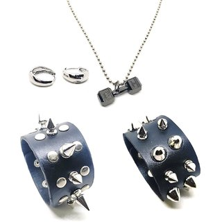 2 Pokey Mens Black Cuff and 1 Pair of Salman Khan Ear Bali (NEED PEARCING) & 1 Dumbbell Pendant in Black Polish With Chain